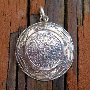Vintage 925 Taxco Designer Aztec Medallion Pendant